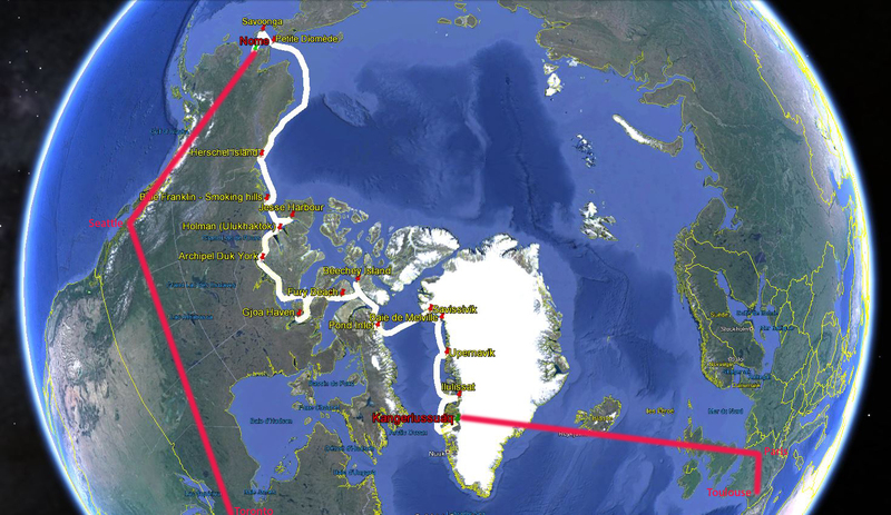 C'est parti pour le Grand Nord américain : Groenland / Nunavut / T. N. O. / Yukon / Alaska + Ontario / Québec