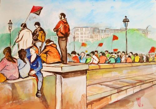 """ Pont d'Austerlitz ""    Aquarelle  50X70"