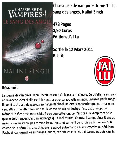 Chasseuse de vampires tome 1 : Le sang des anges, Nalini Singh