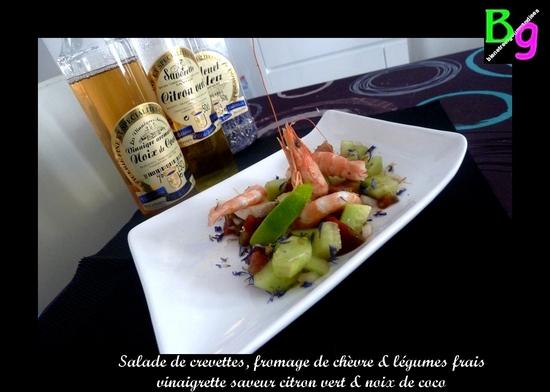crevettes, legumes, viniagrette coco