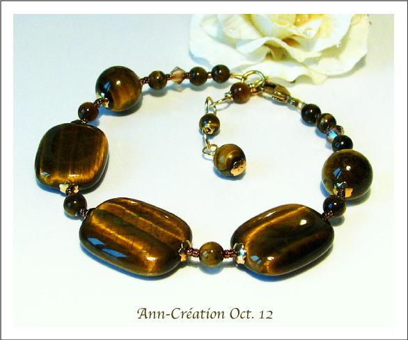 Bracelet Oeil du Tigre & Cristal de Swarovski / Plaqué Or Gold plated