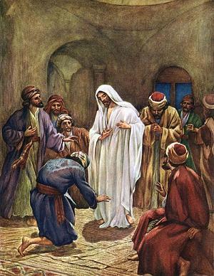 Jésus apparaît aux disiciples, aquarelle de William Hole