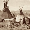 War chief's tent, Shoshone village. 1870. Wyoming. Photo by William Henry Jackson.
