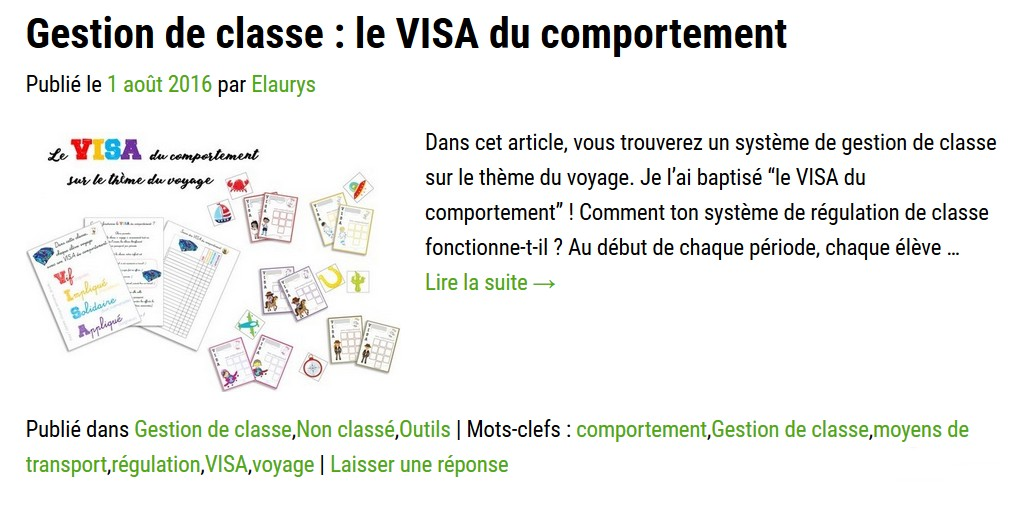 Le VISA du comportement