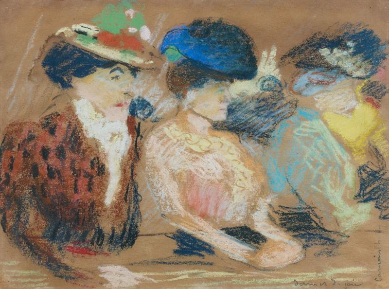 DAMES DE JOIE Pastel sur papier, 24 x 32 cm
