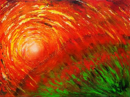 337. l'explosion du soleil. Acrylique sur toile de 0,80 x 0,50