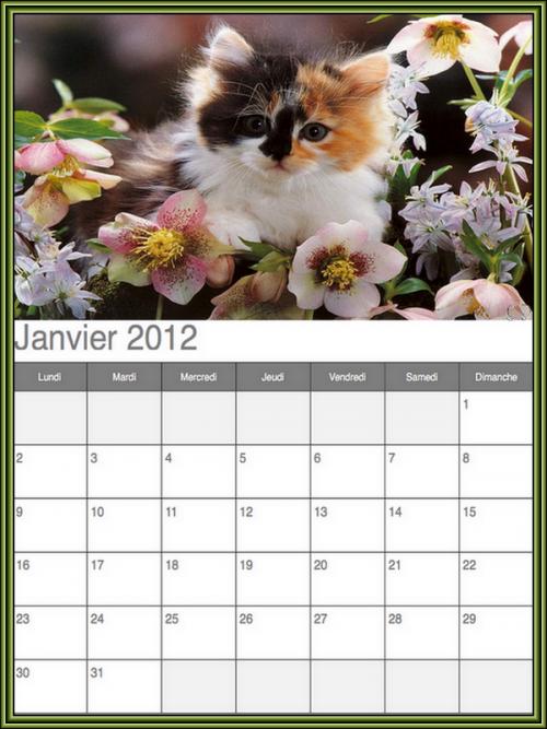 1ere serie de calendrier 2012 imprimable