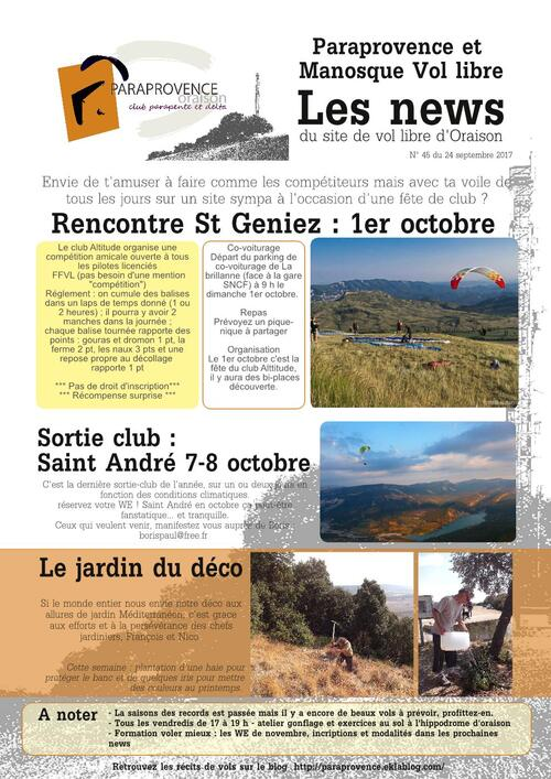 PARAPROVENCE  NEWS  456  - Fin septembre 2017