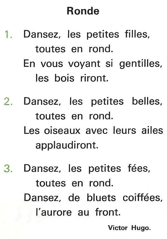 Ronde Poésie De Victor Hugo Littérature Au Primaire