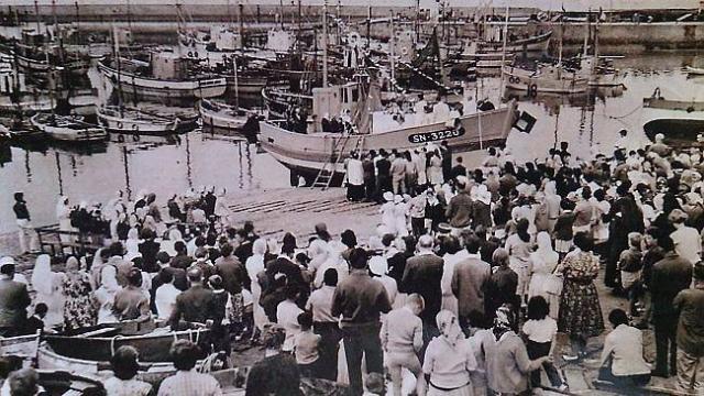 La cale Marino, où la messe était célébrée. Les pèlerins y embarquaient en 1945.