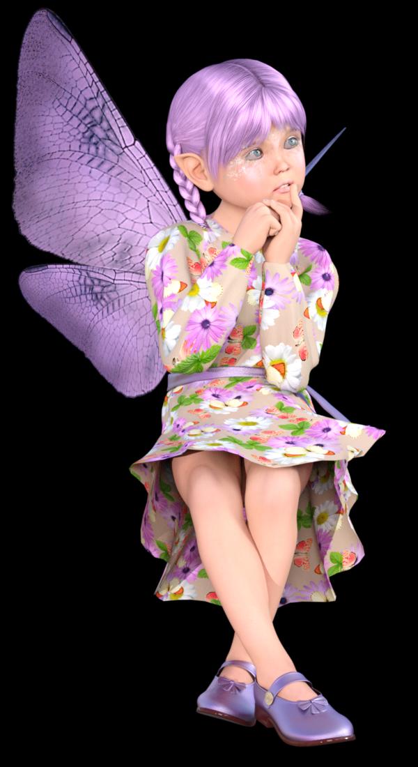 Image fillette fée fleurette (tube)