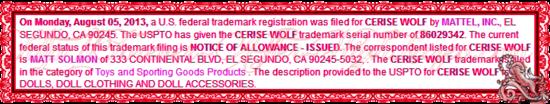 CERISE WOLF TRADEMARK