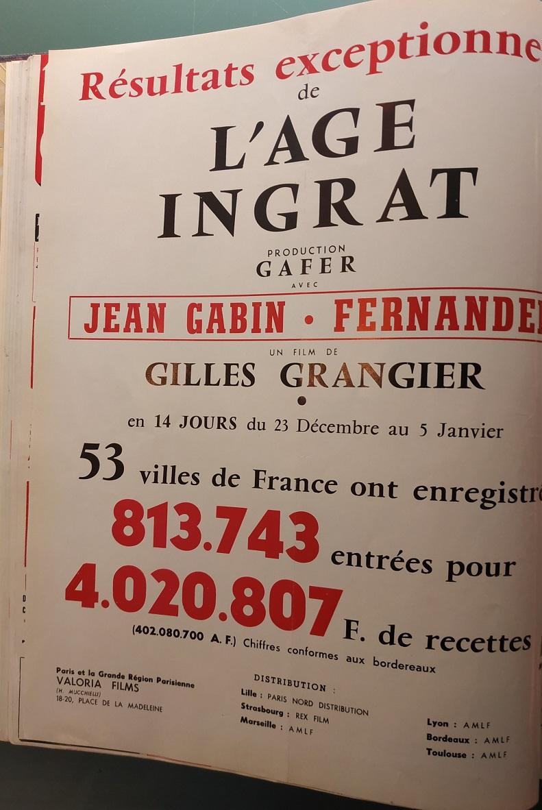 BOX OFFICE PARIS DU 23/12/1964 AU 29/12/1964