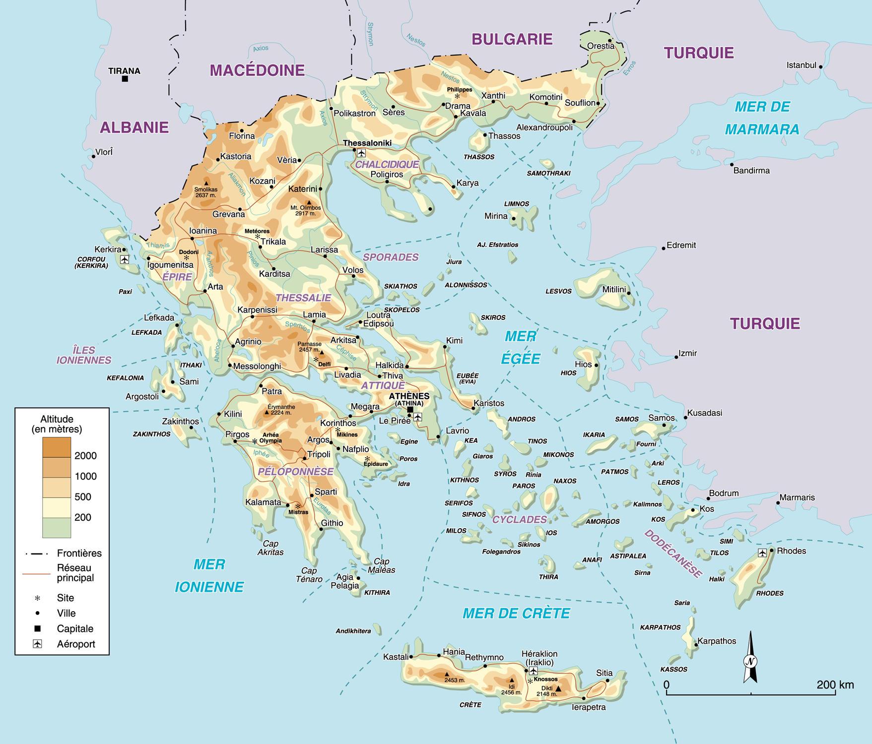 Carte des îles grecques   TERRES GRECQUES