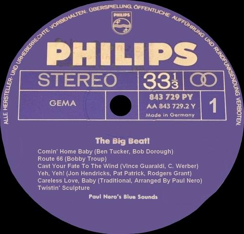 "Paul Nero's Blue Sounds : Album "" The Big Beat "" Philips Records 843 729 PY [ GE ]"