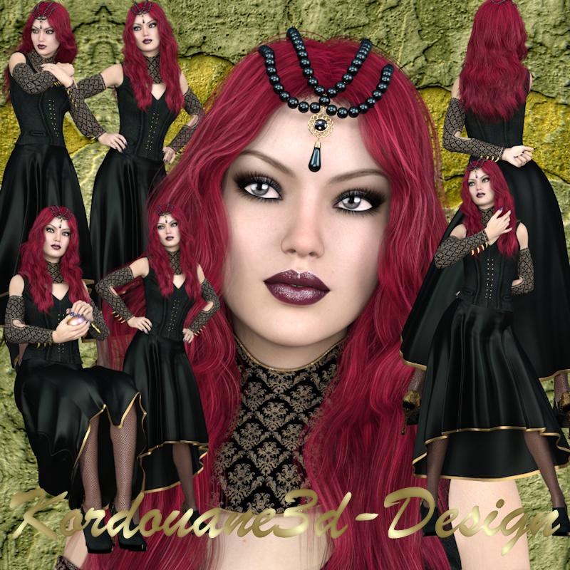 Femme gothique : (Poser-render-tube)