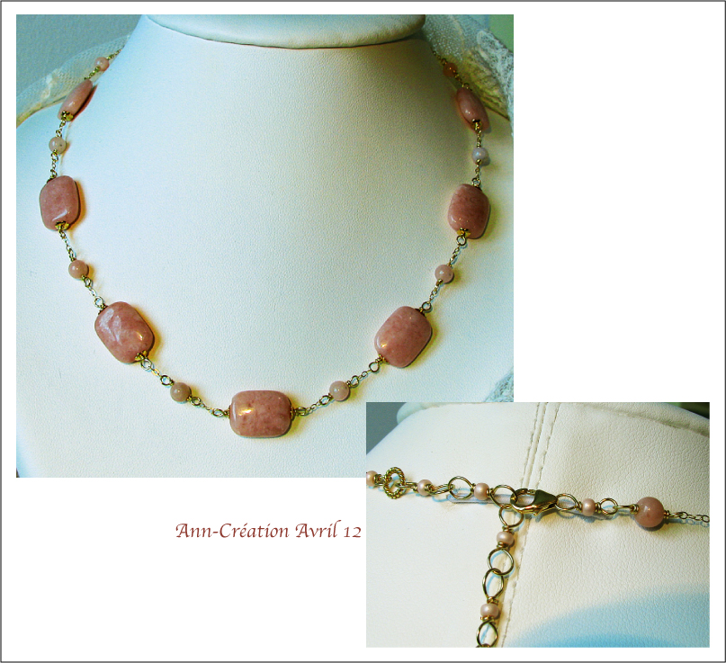 Collier Opale rose Naturelle / Plaqué Or 14Kt Gold Filled & Laiton