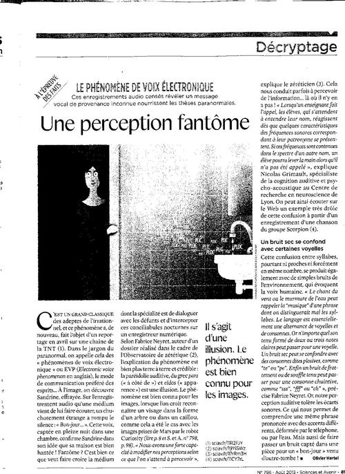 Sciences et Avenir  N°798 Aout 2013 Olivier HERTEL observatoire de Zetetique