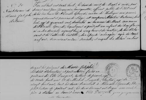 Acte de naissance de Marie Josephe ANTOINE le 2 mars 1838