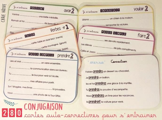 Conjugaison : CARTES pour s'entraîner en autonomie et TESTS pour valider