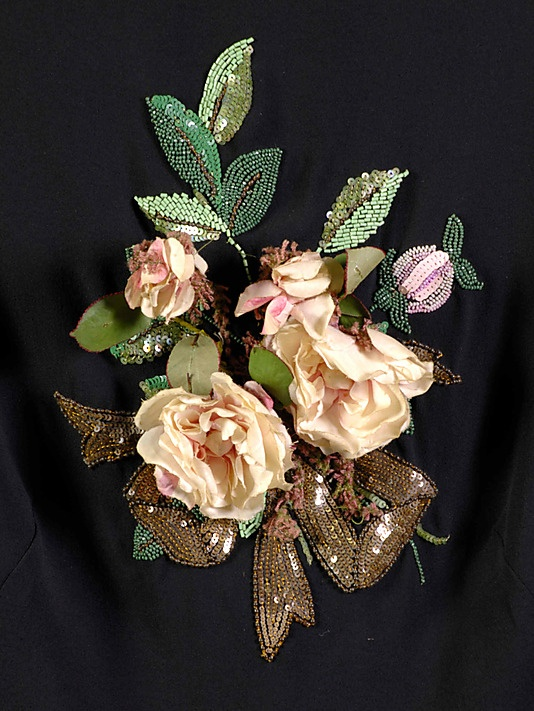 Blouse, Evening.  House of Schiaparelli  (French, 1928–1954).  Designer: Elsa Schiaparelli (Italian, 1890–1973). Date: ca. 1938. Culture: French. Medium: Silk, beads, sequins, artificial flowers.