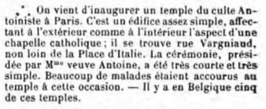 Inauguration du Temple à Paris (Annales des sciences psychiques, v23, 1913)
