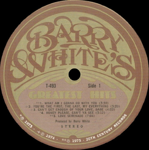 "Barry White : Album "" Barry White's Greatest Hits "" 20Th Century Records T-493 [ US ] en Décembre 1975"