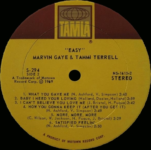 "Marvin Gaye & Tammi Terrell : Album "" Easy "" Tamla Records TS 294 [ US ]"
