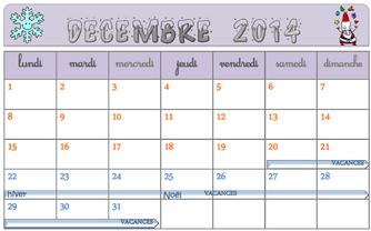 calendrier 2014 2015 affichage Zone A et B