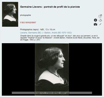 Germaine Lievens, portrait de profil de la pianiste
