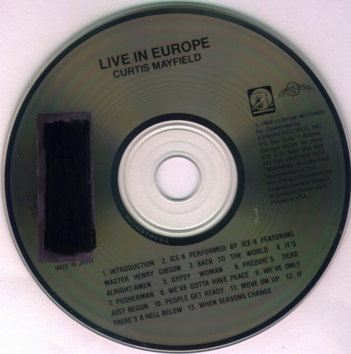 """1988 : Album LP / CD """" Live In Europe """" Curtom Records CUR2-2901 [ US ]"""