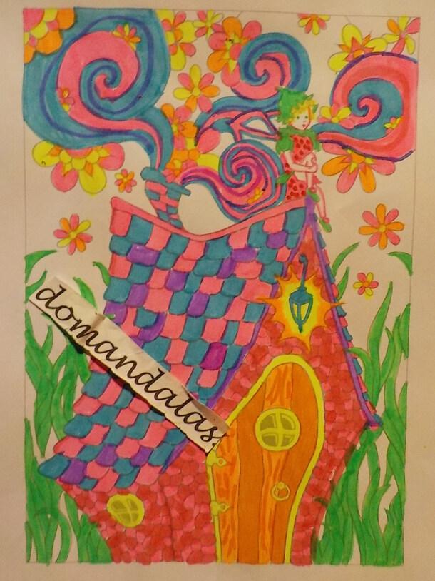 DOMANDALAS  coloriage maison de fée
