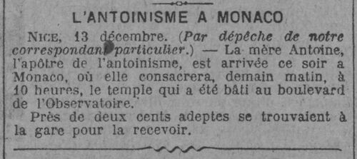 Inauguration Temple de Monaco (Le Journal, 14 déc 1913)