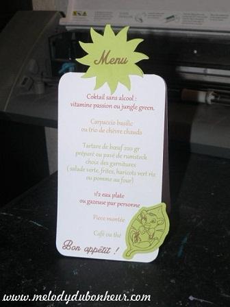 Petit menu thème simba / lionceau