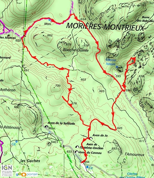 Les Morières, Puits de Junca, Tête de la Marquise