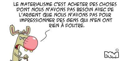"""""""Le chat chasse la chatoune chaude"""". Jacques Damboise in """"Pensées scrogneugneu""""."""