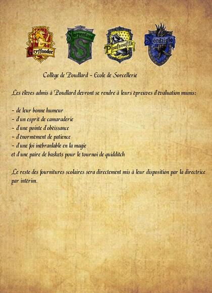 Anniversaire Harry Potter fournitures poudlard