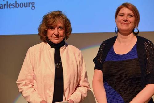 La lauréate Monique Dionne et Sonia de la Bibliothèque Paul-Aimé-Paiement