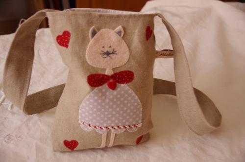 Petits sacs en lin, histoires de chats
