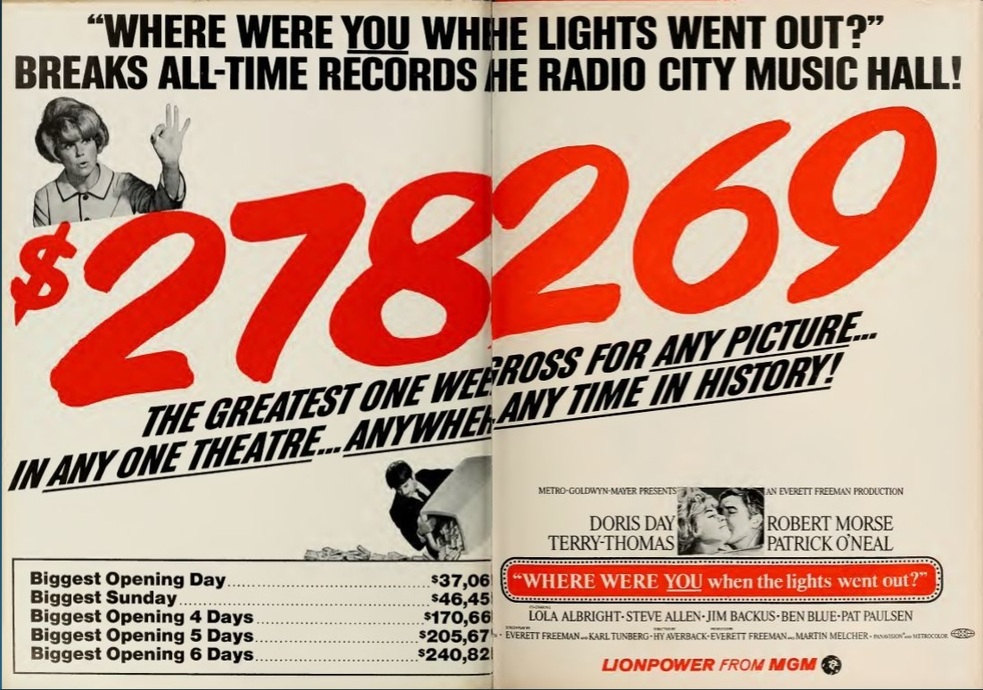 WHERE WERE YOU WHEN THE LIGHTS WENT OUT?  box office USA 1968