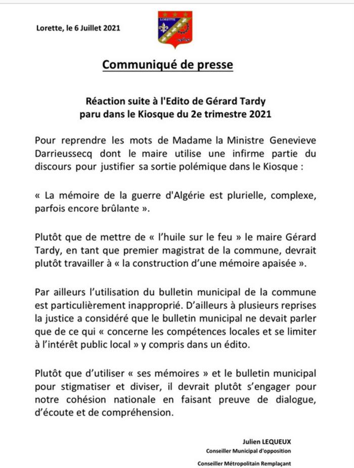 """Colonisation : le maire de Lorette demande à l'Algérie de """"remercier la France""""  pour ce qu'elle lui a laissé"""