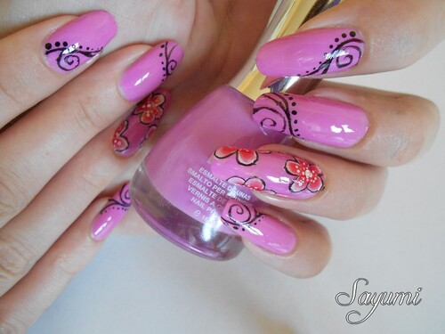 Nail Art Mix one stroke & spirales
