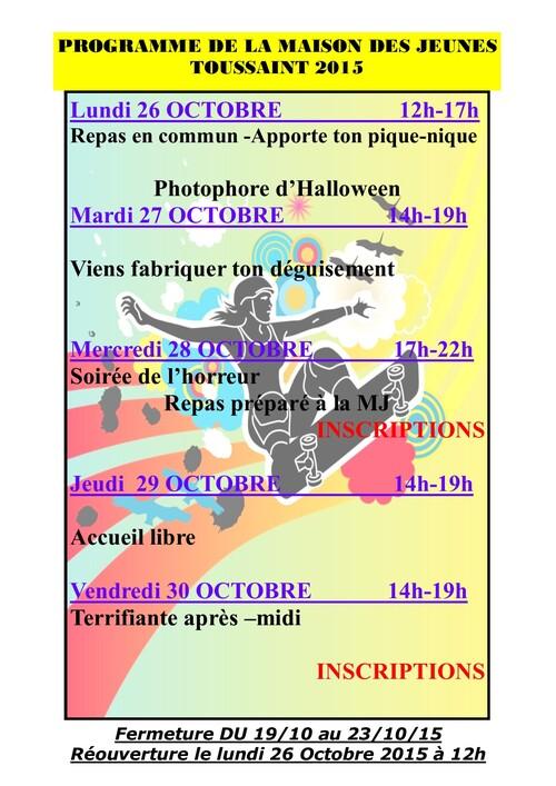 Programme des vacances de Toussaint