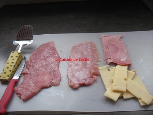 Escalope au jambon, emmental et béchamel