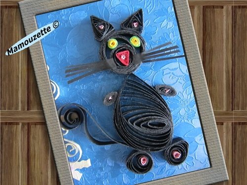 Carte anniversaire chat en quilling