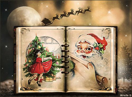 Livre de Noël Ancien (Photomontage)