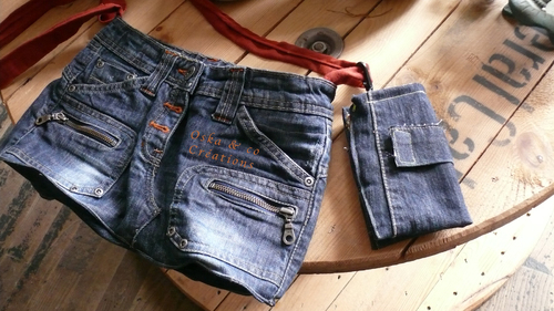 Sac à main et porte-cartes assorti en jeans doublé