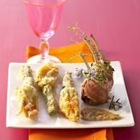 Agneau et beignets de fleurs de courgettes
