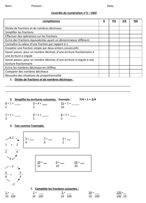 mathématiques : contrôle - évaluation de numération - cm2 - période 3