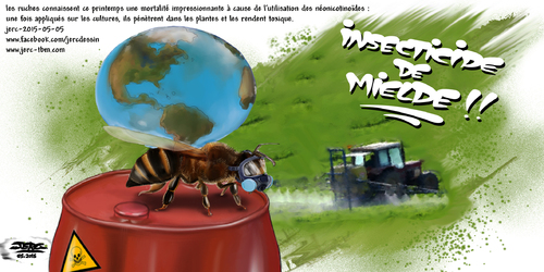 dessin de JERC du mardi 5 mai 2015 caricature abeille : les néonicotinoïdes interdits en 2016 ? www.facebook.com/jercdessin